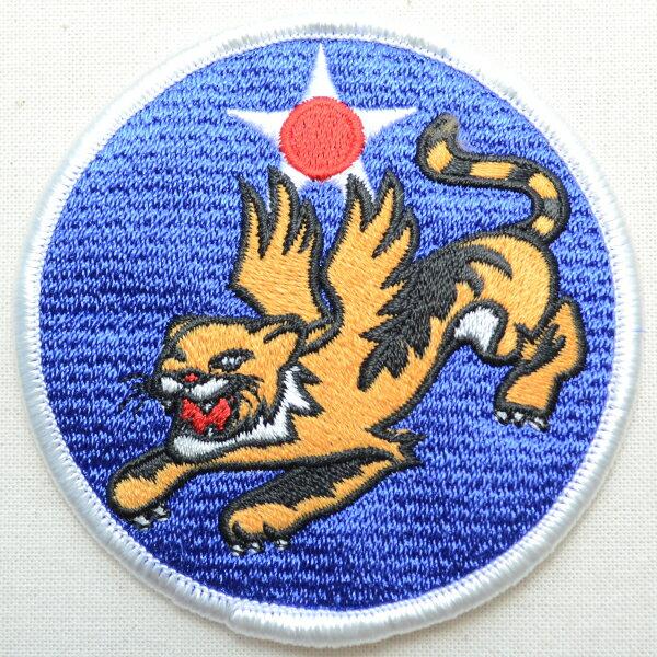 ミリタリーワッペン Flying Tiger タイガー アメリカ空軍(虎/ラウンド) MIW-032 アイロン アップリケ パッチ アルファベット エンブレム 名前 ミリタリー 車 ディズニー ワッペン