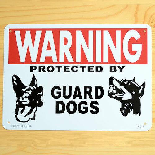 看板/プラスチックサインボード 番犬に注意 Warning Guard Dogs CA-17 木製 ガレージ 庭 メッセージ 什器 店舗什器 アメリカ雑貨 アンティーク ボード ロード アメリカ *DM便(旧メール便)不可