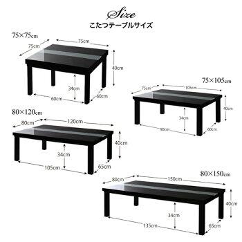 アーバンモダンデザインこたつVADITCFKバディットシーエフケーこたつ4点セット(テーブル+掛・敷布団+布団カバー)鏡面仕上5尺長方形(80×150cm)