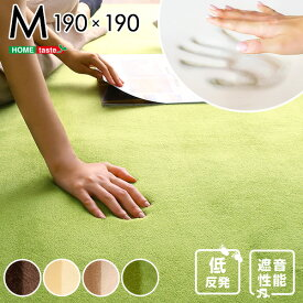高密度マイクロファイバー・低反発ラグマットMサイズ(190×190cm)ホットカーペット、床暖房対応 リウル カーペット 遮音 低反発ウレタン マイクロファイバー 滑り止め付き 通販 楽天