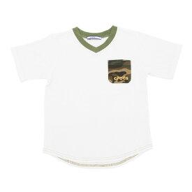 クロックス(crocs) 【多少の汚れ等訳あり大奉仕】CR 無地ポケット付きTシャツ cr117607WT17S (Jr)