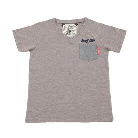 Qoo 【多少の汚れ等訳あり大奉仕】ボーイズ Vネック 半袖Tシャツ 865Q7HT4834 DGRY (Jr)