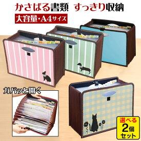 大容量 ドキュメントボックス a4 2個セット ファイルボックス 書類収納ボックス じゃばら 持ち運び ドキュメントスタンド 書類 収納 ファイル 整理箱