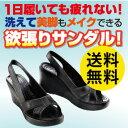 【送料無料】洗える美脚サンダル ブラックオフィスシューズやナースサンダル・室内履きに!! 8.5cmの高めヒール・厚底…