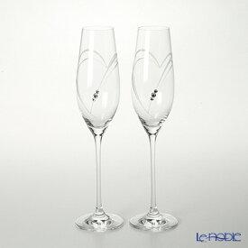 ストラス with SWAROVSKI ELEMENTS ハート イン ハート シャンパン 210cc ペア お祝い 引き出物 ブライダル グラス シャンパングラス ギフト 食器 ブランド 結婚祝い 内祝い