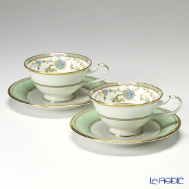【クーポン】ノリタケ ヨシノ Y6988/9983 ティー・コーヒー兼用 碗皿 ペア グリーン ティーカップ おしゃれ かわいい 食器 ブランド 結婚祝い 内祝い