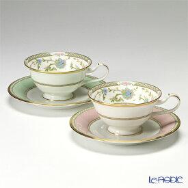 【クーポン】ノリタケ ヨシノ Y6988/998307 ティー・コーヒー兼用 碗皿 ペア ピンク&グリーン ティーカップ おしゃれ かわいい 食器 ブランド 結婚祝い 内祝い
