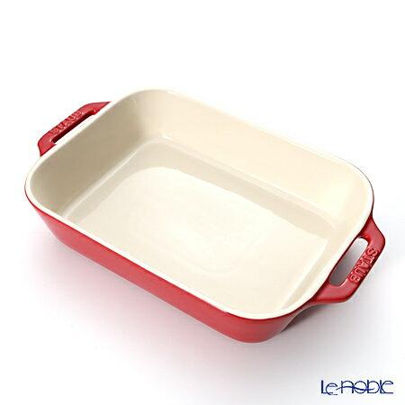 ストウブ(staub) レクタンギュラーディッシュ(セラミック製) 27×20cm/2.4L チェリー【楽ギフ_包装選択】【楽ギフ_のし宛書】 プレート 皿 食器