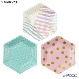 Talking Tables トーキングテーブルズ 六角形★紙皿 17cm 12枚入 Party Time PARTY-PLATE 3柄各4枚 使い捨て キッチン 用品 雑貨 調理