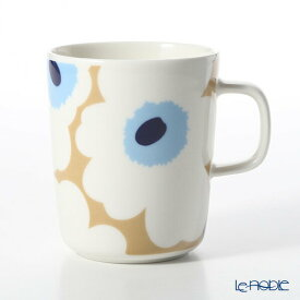 【ポイント10倍】マリメッコ(marimekko) Unikko ウニッコ 18SS マグカップ ベージュ×オフホワイト×ブルー 250ml 北欧 食器 おしゃれ かわいい ブランド 結婚祝い 内祝い