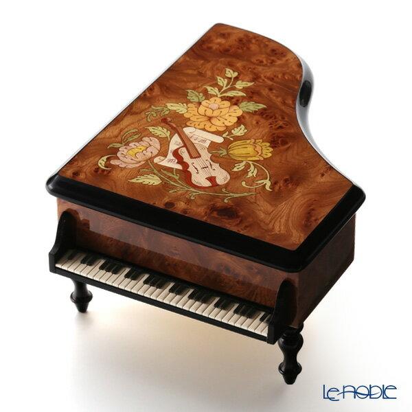 エルコラーノ イタリア象嵌オルゴール ピアノ型(美しく青きドナウ) バイオリン 欅ケヤキ ブラウン【楽ギフ_包装選択】【楽ギフ_のし宛書】