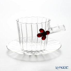 イッケンドルフ グリーンウッド ティーカップ&ソーサー レッドベリー 250cc(満水容量) 耐熱性ガラス おしゃれ かわいい 食器 ブランド 結婚祝い 内祝い