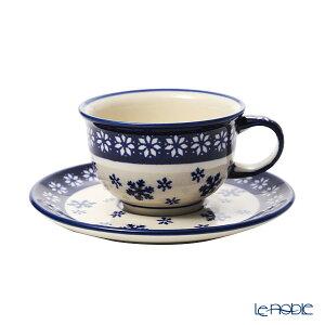 ポーリッシュポタリー(ポーランド陶器) ボレスワヴィエツ ティーカップ&ソーサー 220ml/16cm XMAS/クリスマス(雪の結晶) 775/836/925A ポーランド食器 北欧 おしゃれ かわいい ブランド 結婚