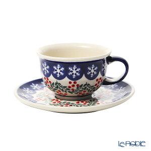 ポーリッシュポタリー(ポーランド陶器) ボレスワヴィエツ ティーカップ&ソーサー 220ml/16cm XMAS/クリスマス(ひいらぎ) 775/836/1005 ポーランド食器 北欧 おしゃれ かわいい ブランド 結婚