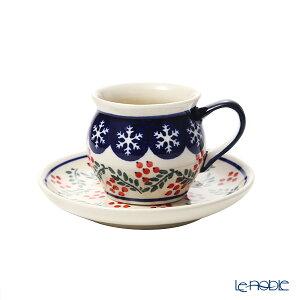 ポーリッシュポタリー(ポーランド陶器) ボレスワヴィエツ コーヒーカップ&ソーサー 160ml/14.2cm XMAS/クリスマス(ひいらぎ) 913/710/1005 ポーランド食器 北欧 コーヒ?カップ おしゃれ かわ