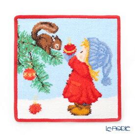【ポイント10倍】フェイラー ハンドタオル クリスマス 2019 リスと少女 レッド 25×25cm プチギフト ハンカチ