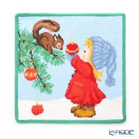 【ポイント10倍】フェイラー ハンドタオル クリスマス 2019 リスと少女 グリーン 25×25cm プチギフト ハンカチ