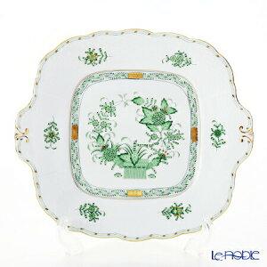 【ポイント10倍】ヘレンド(HEREND) インドの華グリーン 00431-0-00 四角ケーキ皿 28×25cm プレート お皿 食器 ブランド 結婚祝い 内祝い