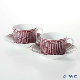 Hermes (HERMES) H Deco Rouge アッシュデコルージュモーニングカップ & saucer 340 ml pair teacup coffee cup tableware