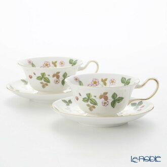 韦奇伍德 (韦奇伍德) 野生草莓茶杯 & 飞碟 (牡丹) 双