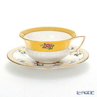 韦奇伍德(Wedgwood)harekuinkorekushon(万德最后)淡黄色茶杯&盘子韦奇伍德礼物咖啡杯餐具