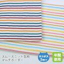 スムースニット生地105cm巾/マルチボーダー【50cm単位販売】