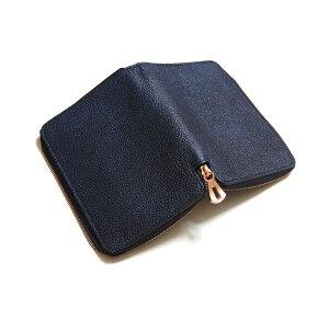 ITTIイッチCRISTYSTUFFINGMIDWLTクリスティスタッフィングミドルウォレット二つ折り財布ラウンドジップ黒桟革藍桟革本藍ITTI-WLT-002-B2