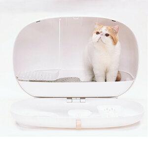 送料無料 猫トイレ ねこトイレ おしゃれ スコップ付き キャットトイレ 大型 ネコ 脱臭 ドーム型 ホワイト 猫トイレ本体 飛び散り防止 ペットトイレ 猫用品 大きい システムトイレ お掃除簡