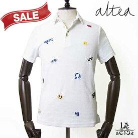 【Special price】Altea アルテア 刺繍 パイル ポロシャツ ビーチ 半袖 ホワイト 白 メンズ タオル地 コットン イタリア製 春夏モデル 国内正規品 25920