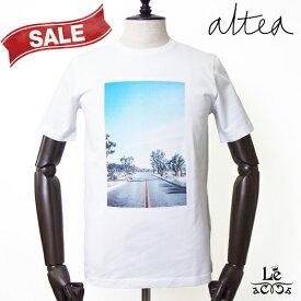 Altea アルテア プリント Tシャツ 半袖 クルーネック ブルー メンズ コットン イタリア製 春夏モデル 国内正規品 14080
