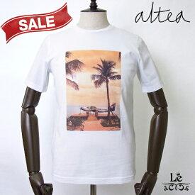 Altea アルテア プリント Tシャツ 半袖 クルーネック オレンジ メンズ コットン イタリア製 春夏モデル 国内正規品 14080
