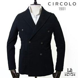 【SALE】CIRCOLO 1901 チルコロ ダブルブレストジャケット CN2335 カシミヤタッチ メタルボタン ブラック 黒 メンズ 秋冬モデル 国内正規品 59400【送料無料】