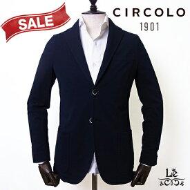 CIRCOLO 1901 チルコロ ジャージー ジャケット ACU218401 シングル 無地 ネイビー 紺 メンズ 春夏モデル 国内正規品 52920【送料無料】