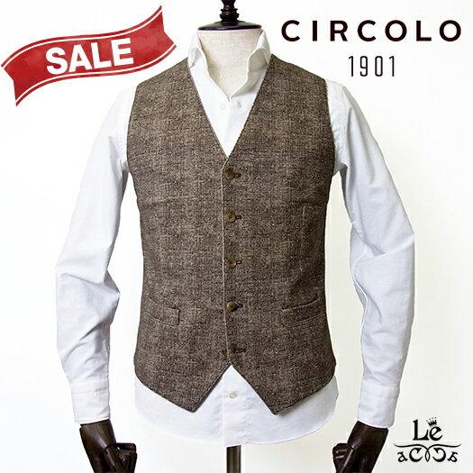【New Arrival】CIRCOLO 1901 チルコロ コットンピケ ジレ ACU220105 ブラウン Cocco メンズ 春夏モデル 国内正規品 29160【送料無料】