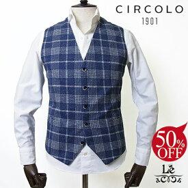【50%OFF】CIRCOLO 1901 チルコロ ジレ グレンチェック コットンピケ CN2210 ネイビー 紺 メンズ 春夏モデル 国内正規品 31320