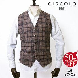 【50%OFF】【46サイズのみ】CIRCOLO 1901 チルコロ グレンチェック ベスト CN2210 ジレ コットンピケ ブラウン メンズ 春夏モデル 国内正規品 31320【ラス1】