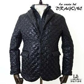 【SALE】【44サイズのみ】La cresta del DRAGONE ドラゴーネ 中綿入り キルティング ジャケット ブラック 紳士服 秋冬モデル 42900【ラス1】