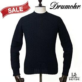 Drumohr ドルモア メンズ クルーネック ニット D5CB464 バスケット編み セーター 長袖 ネイビー イタリア製 春夏モデル 国内正規品 27500【送料無料】