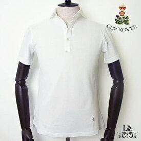 GUY ROVER ギローバー ポロシャツ カッタウェイ ワイドカラー 鹿の子 半袖 無地 ホワイト 白 クールビズ メンズ イタリア製 国内正規品 15400