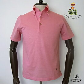 GUY ROVER ギローバー ボタンダウン ポロシャツ 鹿の子 半袖 無地 ビズポロ ピンク イタリア製 国内正規品 15400