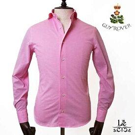 GUYROVER ギローバー コットンシャツ 鹿の子 無地 長袖 ピンク イタリア製 メンズ 春夏モデル 国内正規品 18360【送料無料】