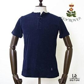 GUY ROVER ギローバー パイル ヘンリーネック Tシャツ TC441J ネイビー 紺 無地 半袖 タオル地 イタリア製 メンズ 春夏モデル 国内正規品 12100