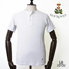 GUY ROVER ギローバー パイル ヘンリーネック Tシャツ TC441J ホワイト 白 無地 半袖 タオル地 イタリア製 メンズ 春夏モデル 国内正規品 12100