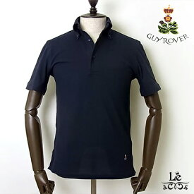 GUY ROVER ギローバー ボタンダウン ポロシャツ 鹿の子 半袖 無地 ネイビー 紺 クールビズ ビズポロ イタリア製 国内正規品 15400