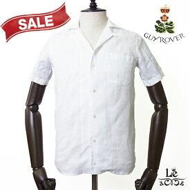 【Special price】GUY ROVER ギローバー オープンカラー リネンシャツ 半袖 開襟シャツ 麻 ホワイト 白 春夏モデル イタリア製 国内正規品 20900