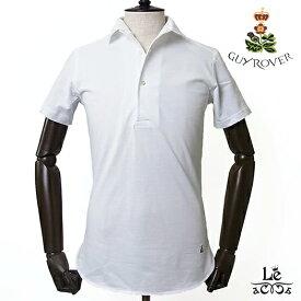 【New Arrival】ギローバー GUY ROVER イタリアンカラー ポロシャツ 半袖 鹿の子 ホワイト 白 ワンピースカラー イタリア製 国内正規品 16500【送料無料】