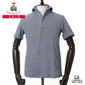 GUY ROVER ギローバー パイル ポロシャツ 半袖 カッタウェイ ボーダー ネイビー イタリア製 メンズ 国内正規品【送料無料】