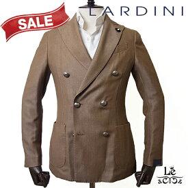 【SALE】LARDINI ラルディーニ ダブルブレストジャケット JQ906AQR ILA53532 ウール ツイル ブラウン ブートニエール イタリア製 秋冬モデル 国内正規品 122100【送料無料】
