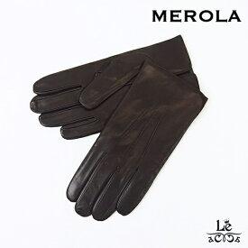 【SALE】MEROLA メローラ レザーグローブ 無地 ブラウン 茶 革手袋 ナッパレザー メンズ イタリア製 国内正規品 25300【送料無料】【バレンタイン】