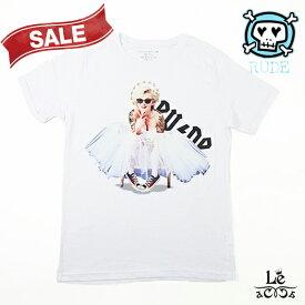 【Special price】RUDE ルード FLAME SHOES Man WHITE メンズ Tシャツ モンロー バレエ 半袖 クルーネック ホワイト 白 パロディ イタリア製 春夏モデル 国内正規品 9900